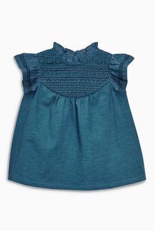 Next Teal Lace Panel Blouse (3mths-6yrs)