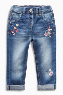 Next Denim Flower Embroidered Jeans (3mths-6yrs)
