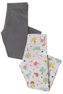 Next Grey/Print Leggings Two Pack (3mths-6yrs)