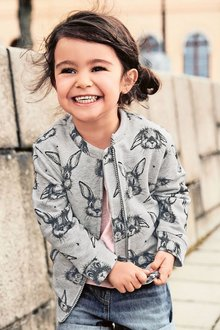 Next Grey Rabbit Print Bomber (3mths-6yrs)