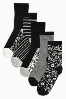 Next Monochrome Floral Mix Footbed Ankle Socks Five Pack