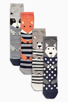 Next Navy Mix Woodland Animals Ankle Socks Four Pack
