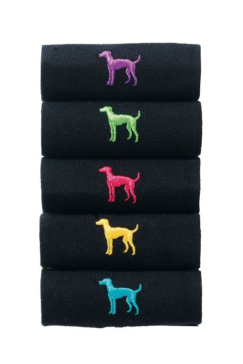 Next Black Dog Embroidery Socks Five Pack