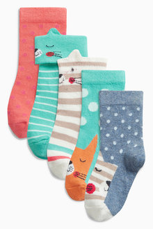 Next Green Cat Socks Five Pack (Younger Girls)