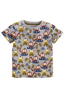 Next Grey Short Sleeve All Over Print Diggers Top (3mths-6yrs)