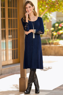 Plus Size - Together Woman Lace Cuff Knit Dress