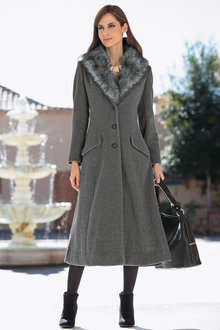 Plus Size - Together Woman Faux Fur Trim Coat