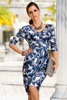 Plus Size - Together Woman Print Wrap Skirt Dress