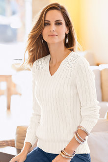 Together Lace Shoulder Sweater