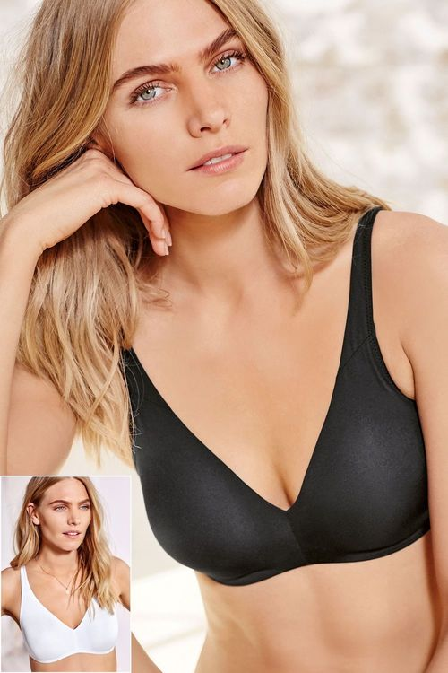 Next Black/White Daisy Non Wired Non Padded Bra Two Pack
