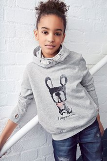 Next Grey Dog Hoody (3-16yrs)