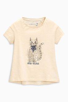 Next Ecru Cat T-Shirt (3-16yrs)
