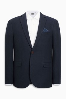 Next Navy Textured Tailored Fit Jacket