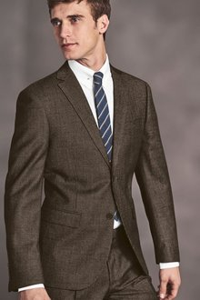 Next Taupe Puppytooth Slim Fit Suit Trousers