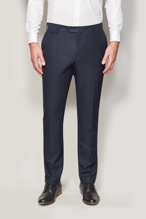 Next Navy Regular Fit Trousers