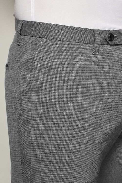 Next Grey Textured Regular Fit Trousers