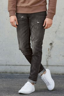 Next Washed Black Distressed Jeans With Stretch