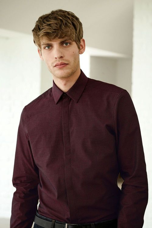 Next Burgundy Textured Shirt With Concealed Placket