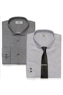 Next Black/Grey Check And Textured Shirts  Tie And Tie Clip Set