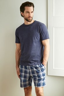 Next Navy Check Woven Short Set