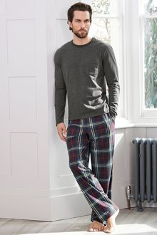 Next Plum Check Cosy Long Set