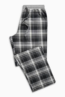 Next Black And Grey Check Woven Long Bottoms