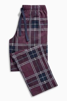 Next Plum And Ecru Cosy Long Bottoms