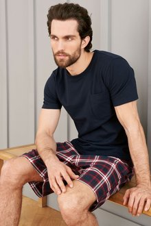 Next Navy/Red Check Woven Short Set