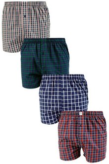 Next Multi Check Woven Boxers Four Pack