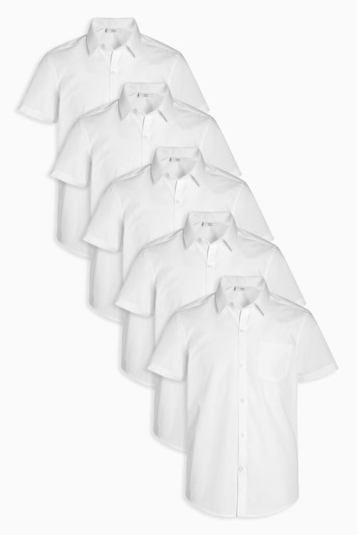 Next Slim Fit White Short Sleeve Shirts Five Pack (3-16yrs)