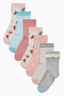 Next Pink Butterfly Socks Seven Pack (Older Girls)