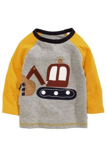 Next Grey/Yellow Long Sleeve Digger Top (3mths-6yrs)