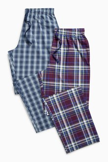 Next Blue/Purple Check Long Bottoms Two Pack