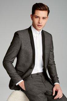 Next Grey Textured Skinny Fit Suit Jacket