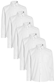 Next White Long Sleeve Shirts Five Pack (3-16yrs)