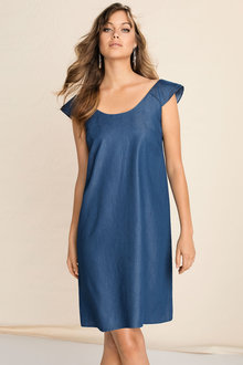 Emerge Chambray Ruffle Dress
