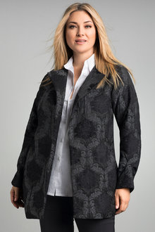 Plus Size - Sara Lined Jacquard Coat