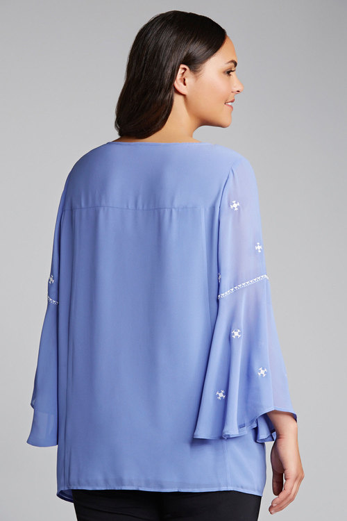 Plus Size - Sara Embroidered Poet Blouse