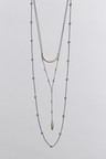 Next Silver Tone Three Row Y-Drop Necklace