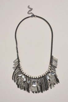 Next Mixed Plated Tassel Detail Statement Necklace