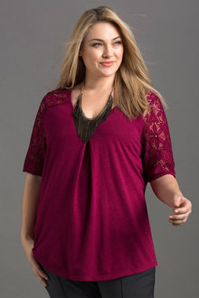 Plus Size - Sara Lace Sleeve Top