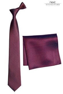 Next Red Signature Silk Tie And Pocket Square Set