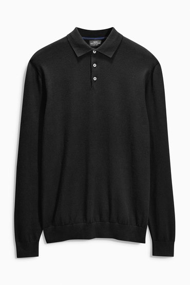 Next Black Long Sleeve Polo