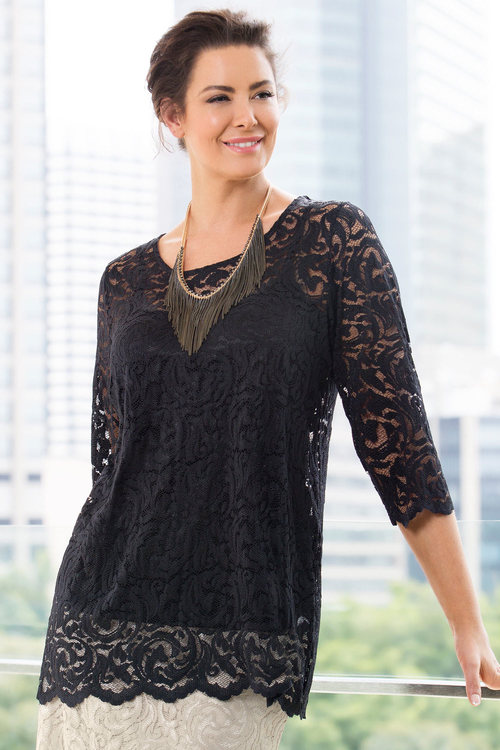 Sara Stretch Lace Layer Top