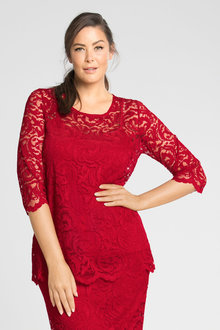 Plus Size - Sara Stretch Lace Layer Top