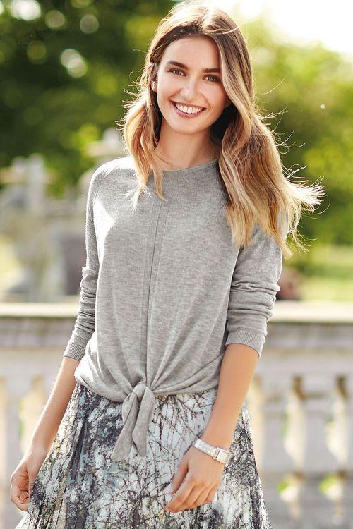 Next Grey Tie Front Sparkle Sweater