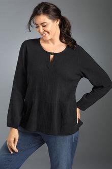 Plus Size - Sara Textured Cotton Top