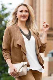 Plus Size - Sara Faux Suede Jacket - 168914