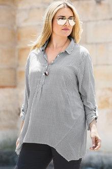 Plus Size - Sara Striped Swing Shirt