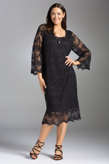 Plus Size - Sara Embroidered Mesh Dress